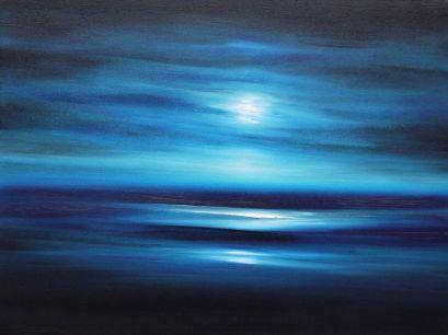Julia Everett in the moonlight on a magic night painting