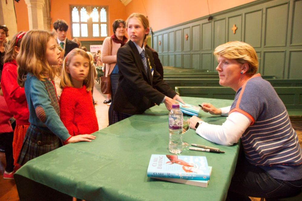 Broadcaster Clare Balding signing books