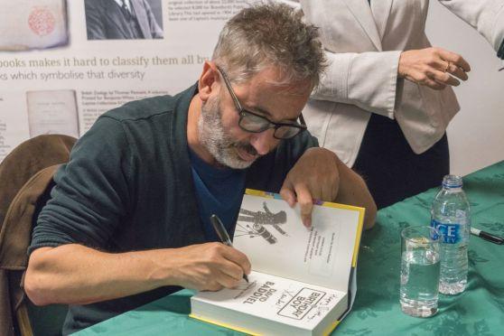 David Baddiel signing books