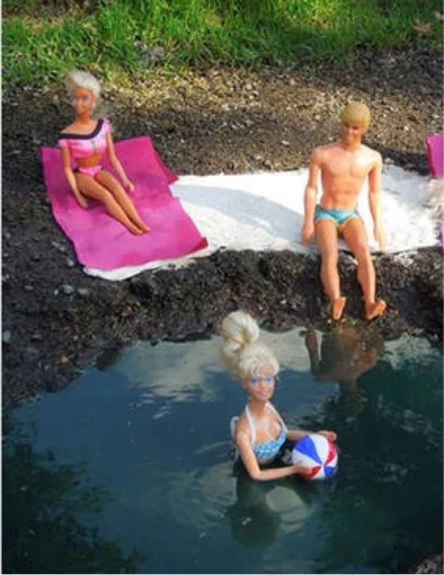 barbie in pothole