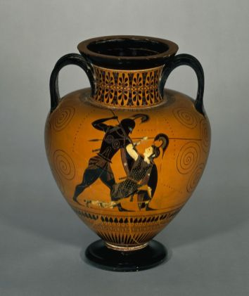 Achilles defeating Penthesilea, the Amazon Queen. Black-figured amphora (wine-jar) signed by Exekias. Athens, Attica, Greece. c.540-530 BC (1)