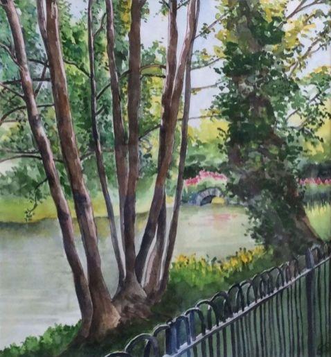 Bridget Stevenson - The lake at Chiswick House (Unframed)