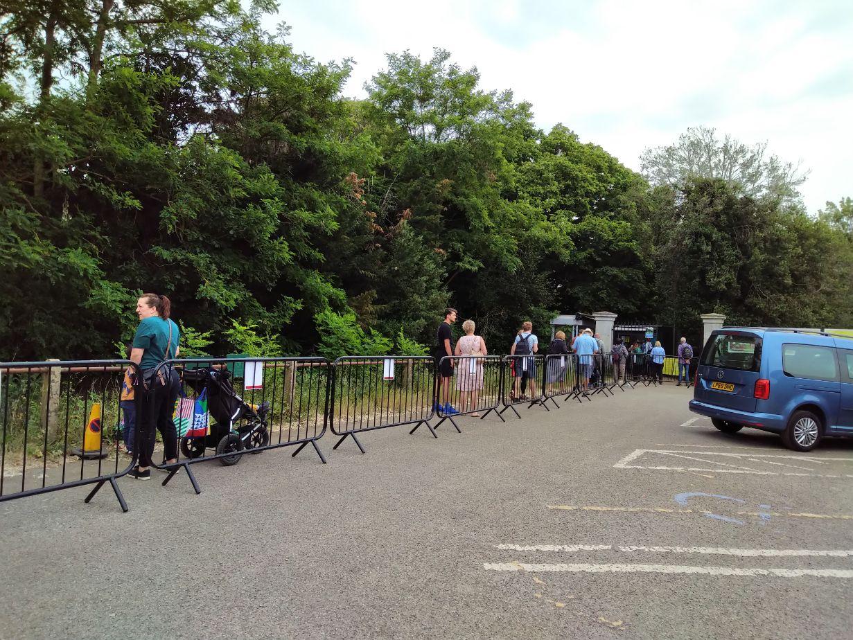 Queuing to enter Kew