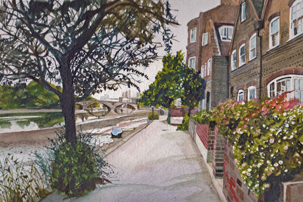 Painting of Strand on the Green by Hugh Bredin