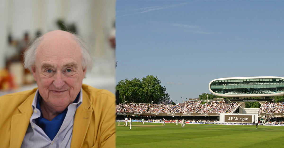 Pictured left Henry Blofeld (Credit SovalValtos Wikipedia) and pictured right the Lords media centre (Credit Hugh Chevallier)