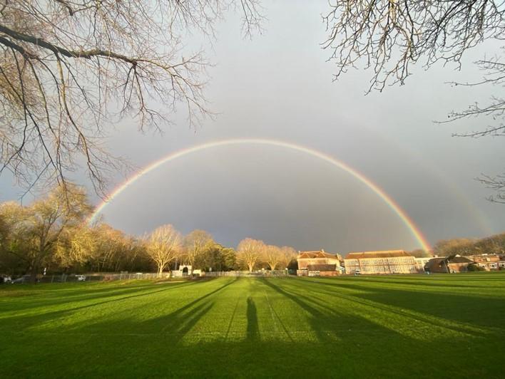 Chiswick School with rainbow