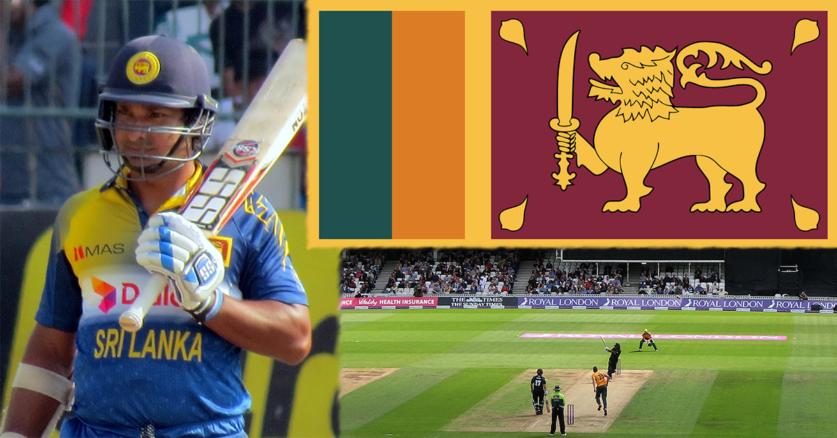 Kumar Sangakkara pictured left (credit Amal316), Flag of Sri Lanka pictured top right & Kumar Sangakkara playing at the oval in 2015 (Credit John Sutton)