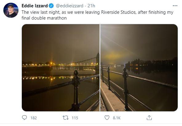 Eddie Izzard - Hammersmith Bridge tweet