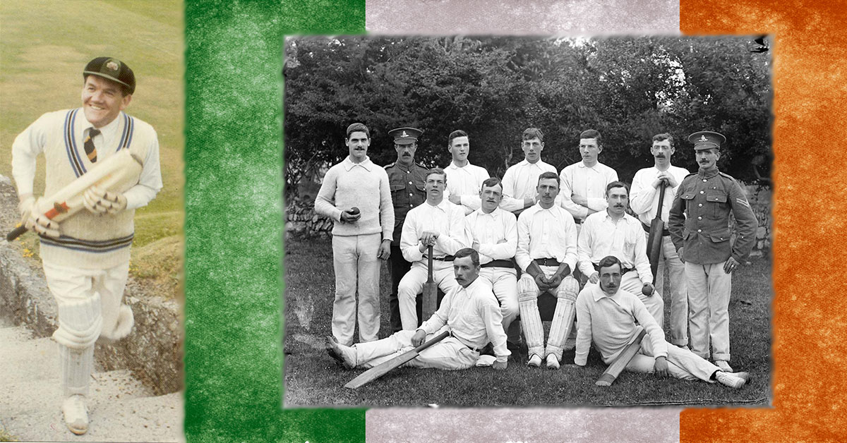 Pictured left, Charles Lysaght returning from the crease at St Columba's College 1984 (Credit leprechauns.cc). Pictured right, Irishmen who were British soldiers, probably of the Royal Artillery, in cricket gear, Waterford, May 1909 (Credit National Library of Ireland on The Commons)