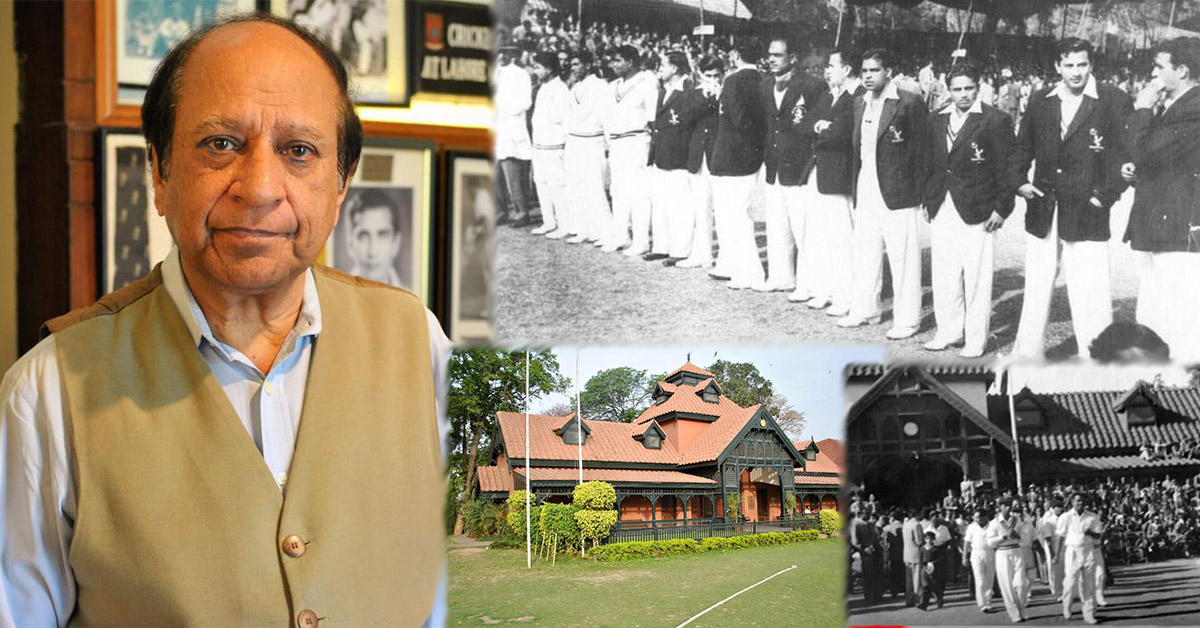 Najum Latif (pictured left), Lahore Gymkhana cricket pavilion that houses the cricket museum (bottom centre), 1955 Schoolboy Najum Latif of 6th grade trying for an autograph of Indian captain Vinod Mankad at Lahore Gymkhana ground (pictured bottom right), Pakistan cricket team at Gymkhana cricket ground against India 1955. Fazal Mahmood 2nd from right (pictured top right)