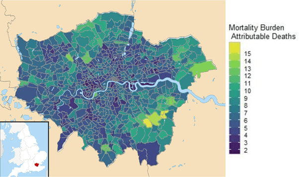 Pollution Picture 1 - Map of early deaths attributable to pollution in London