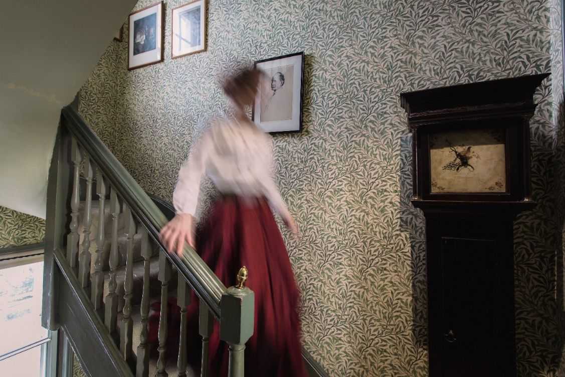Willow Bough runs up the stairs at Emery Walker's House