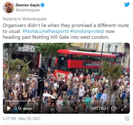 Anti vaxx march Notting Hill