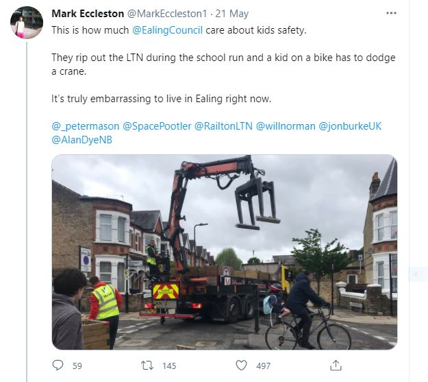 Ealing LTN Mark Ecclestone tweet