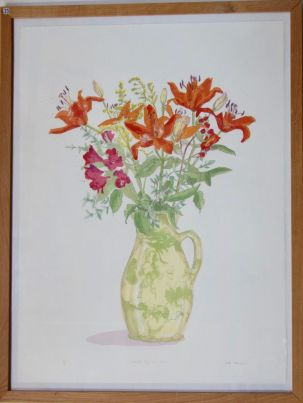 Kate Fishenden, Marbled Jug with Lillies - UID23