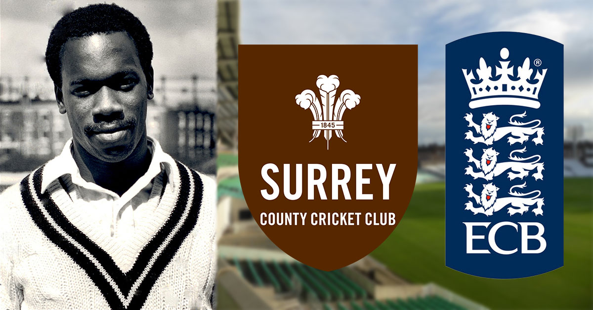 Lonsdale Skinner pictured left (Credit Surrey Cricket Twitter) and the Surrey CC and ECB logos pictured right.