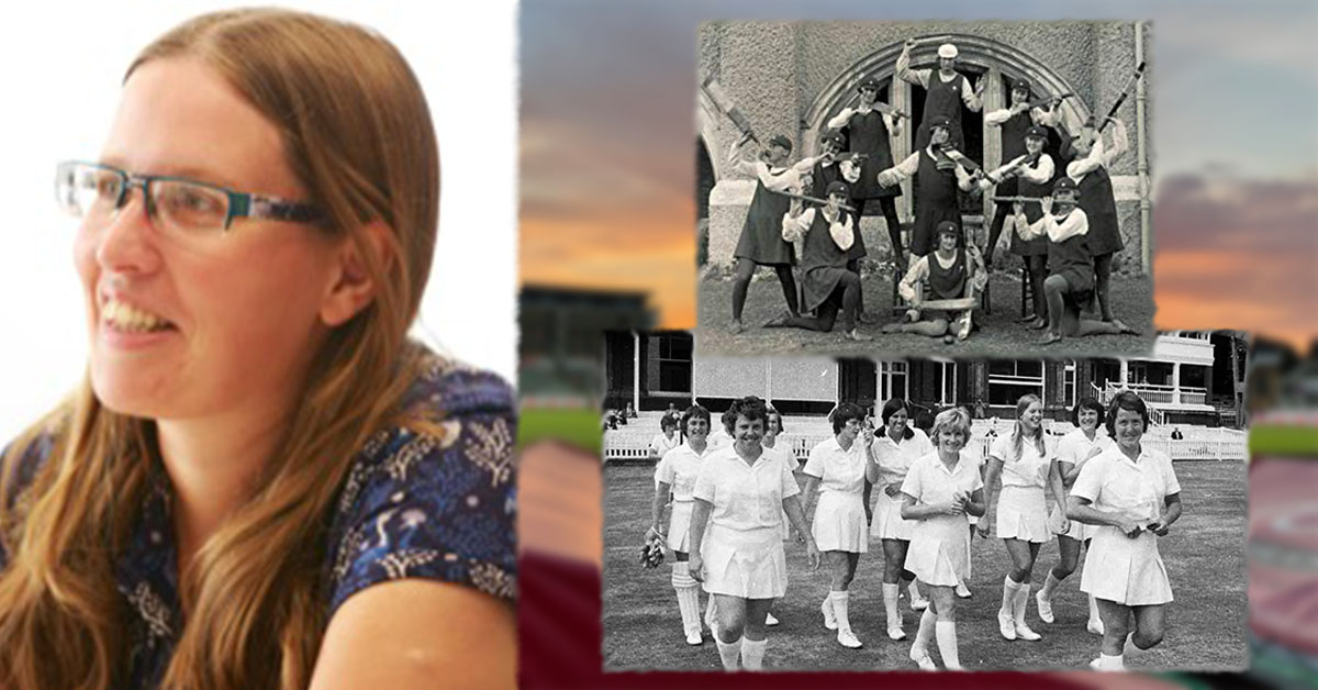 Rafaelle Nicholson (Credit Twitter), pictured top right the cover of Ladies and Lords: A History of Womens Cricket in Britain, pictured bottom right credit Lords