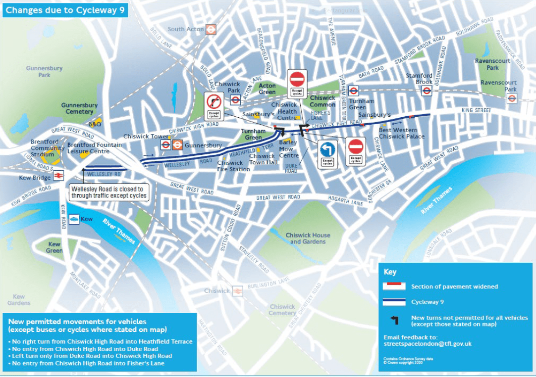 TfL proposed changes to C9 map