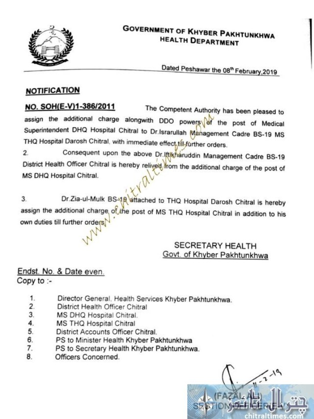 ms dhq hospital chitral dr israrullah order