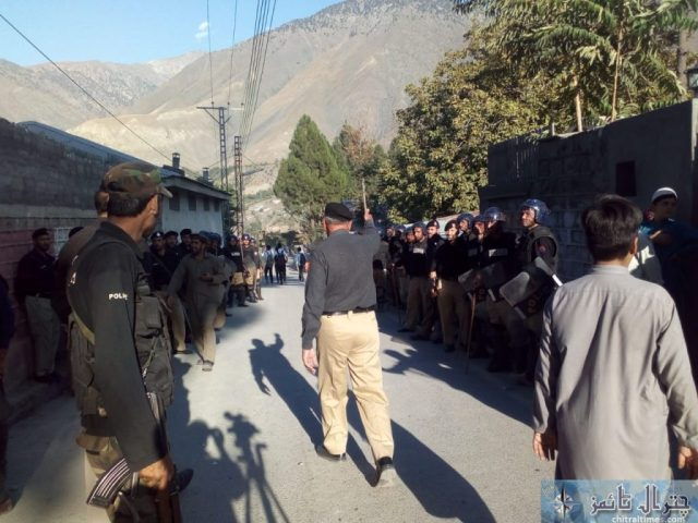 Students and teachers of the langland school and college chitral protest against Miss carry 8