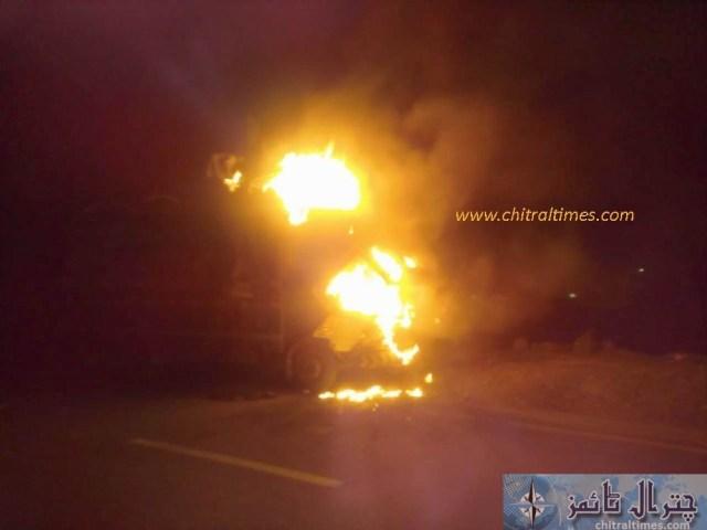 truck cought fire at nagr chitral peshawar road