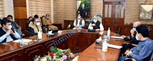 CM Photo chairing a meeting regarding mega development schemes in the province. scaled