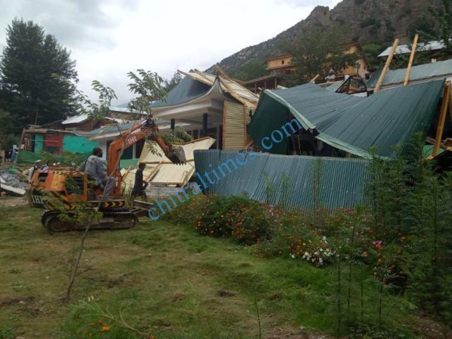 hotel demolished in kalash valley chitral1