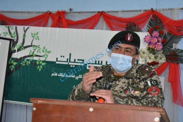Lieutenant Colonel Mohammad Ilyas Commander 141 Wing Chitral Scouts addressing the participants