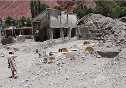 Flood damaged power house at Reshun
