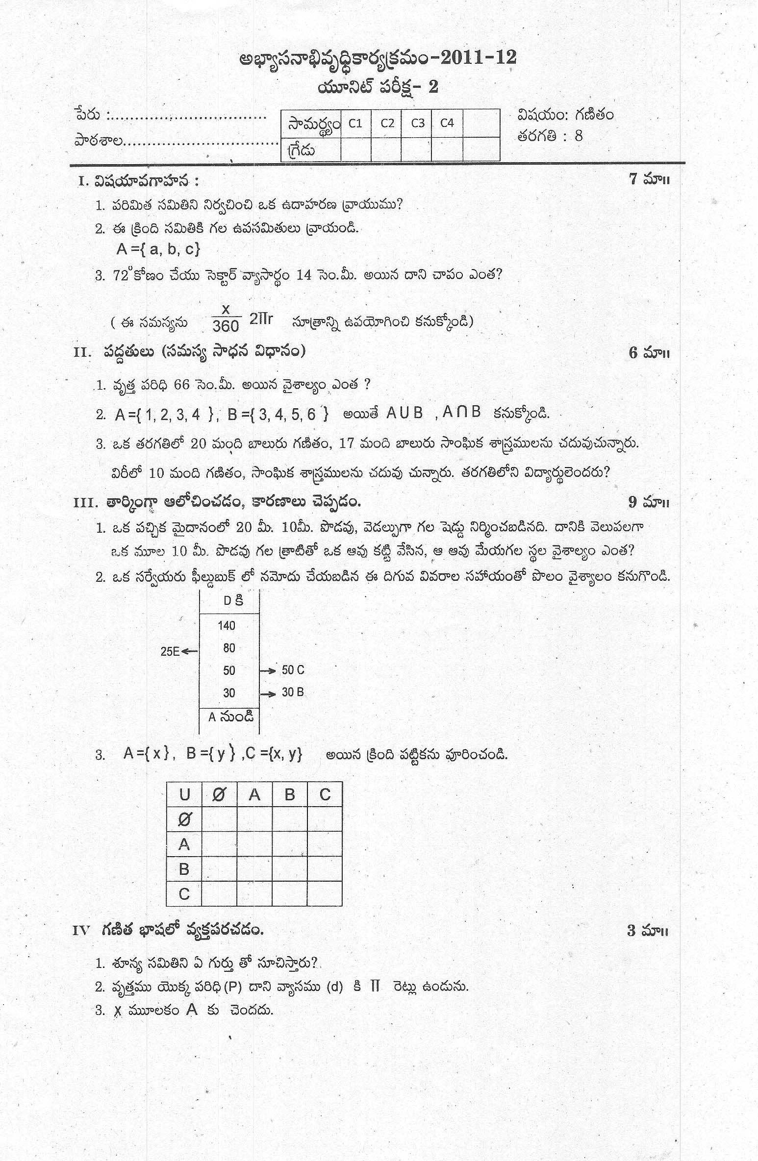 Maths Model Question Paper For Class 7 State Syllabus