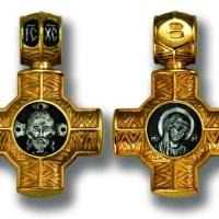 Cruce din argint aurit cu Iisus Hristos