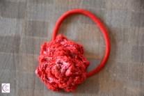Red flower hair elastic +°+ Élastique cheveux fleur rouge