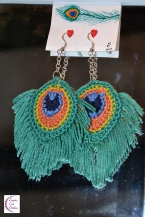 Peacock feather earrings +°+ Boucles d'oreilles plume de paon