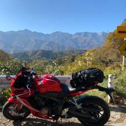 白沢洞門からの雄大な北アルプスの眺望with CBR650R