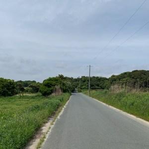 マイナーながら大きな海と空が広がる小島町海岸に続く小道にて