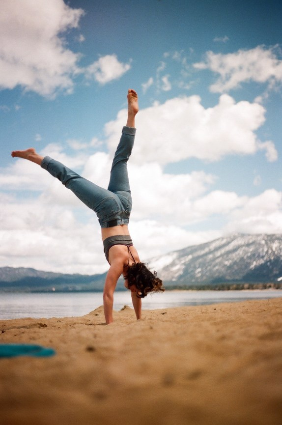 Co enjoys some inversions by Lake Tahoe. Photo by Chloë Zimberg.