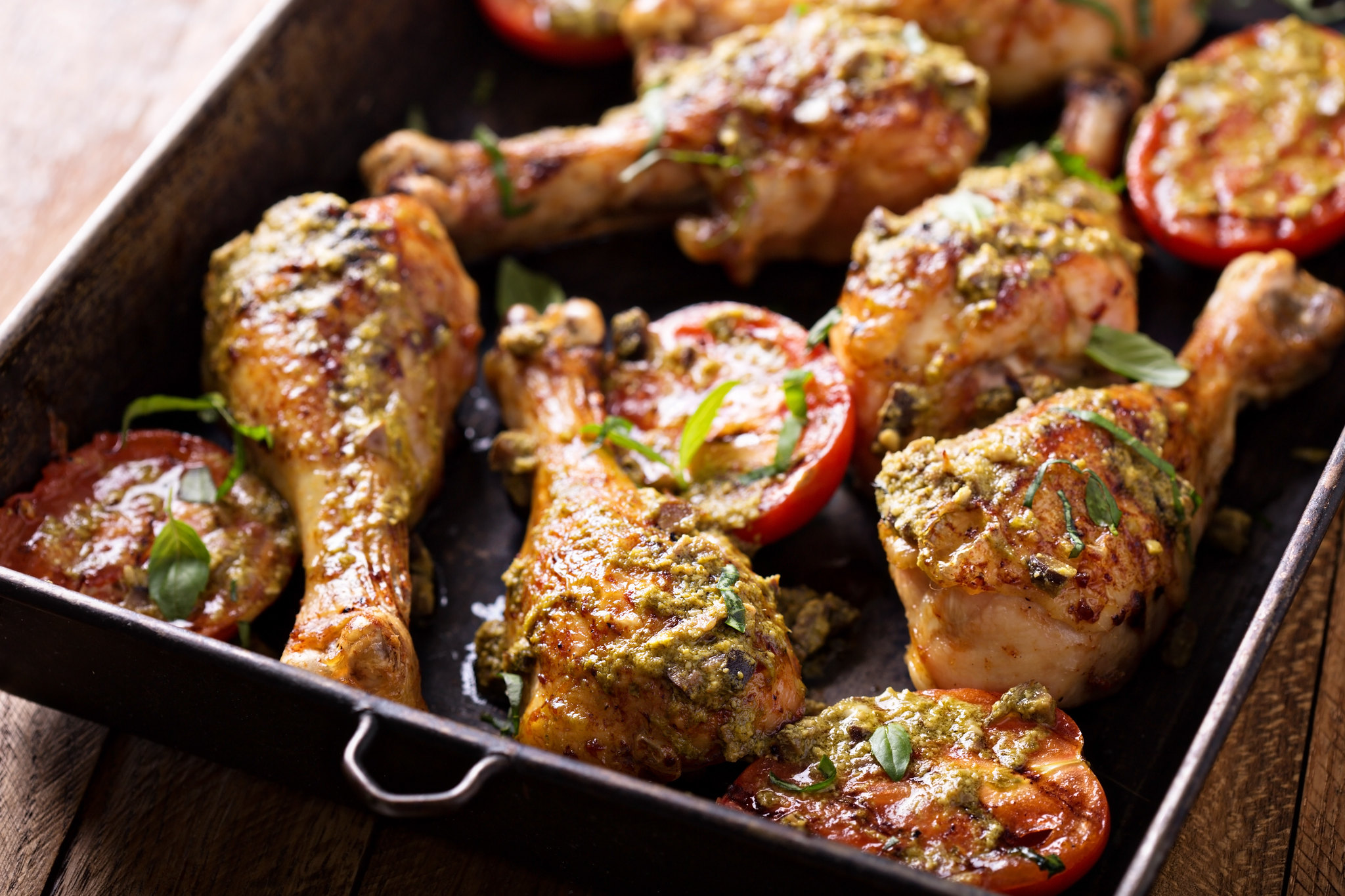 Baked Chicken & Tomatoes with Pesto