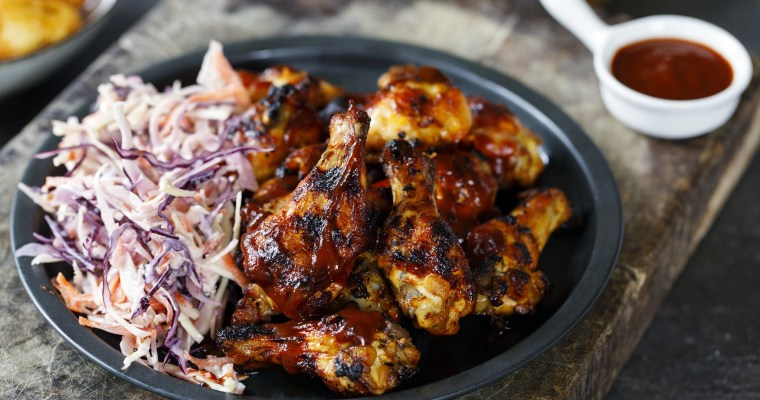 BBQ Chicken Wings with Coleslaw