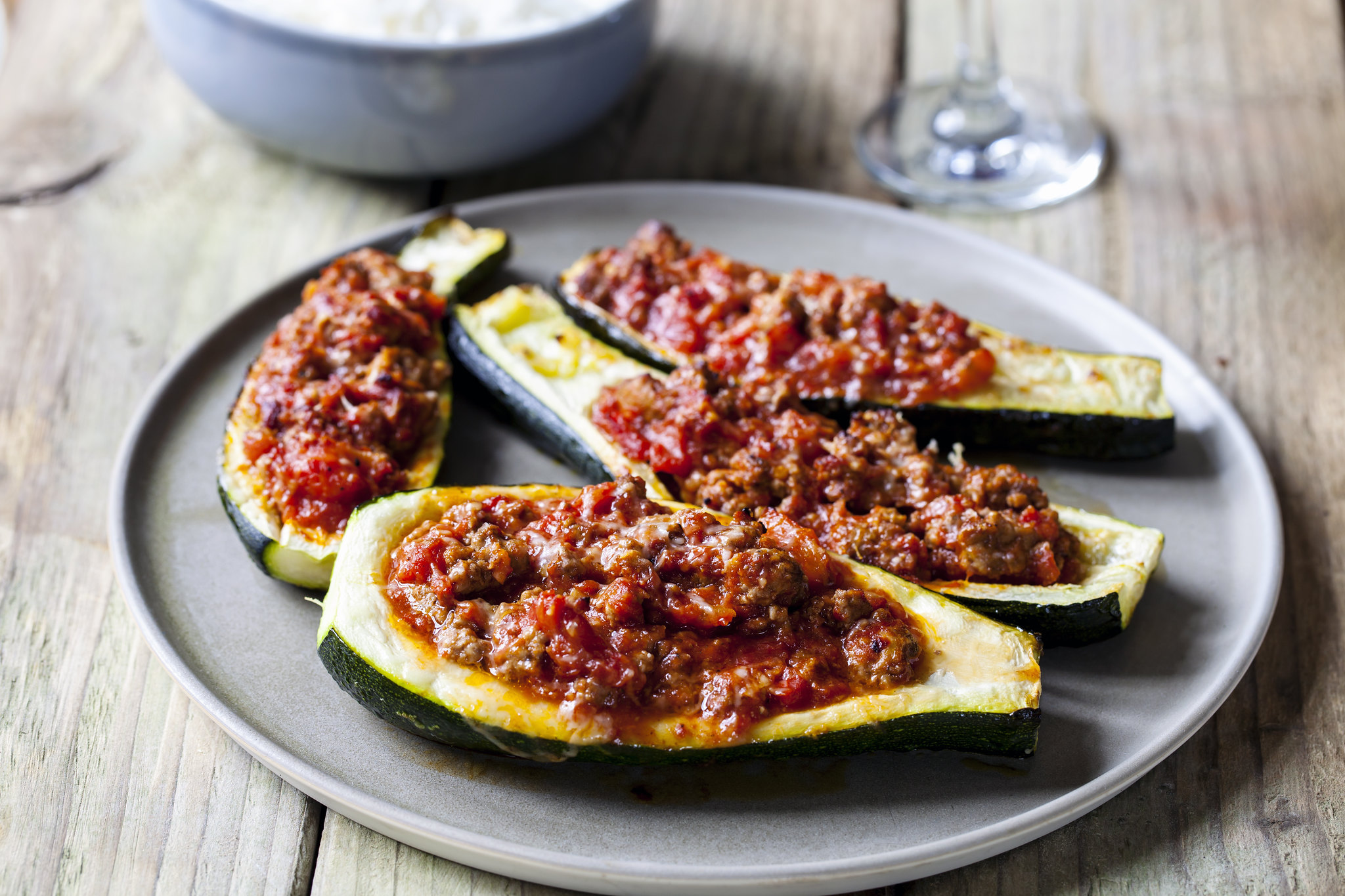 Courgettes with Spicy Lamb Mince