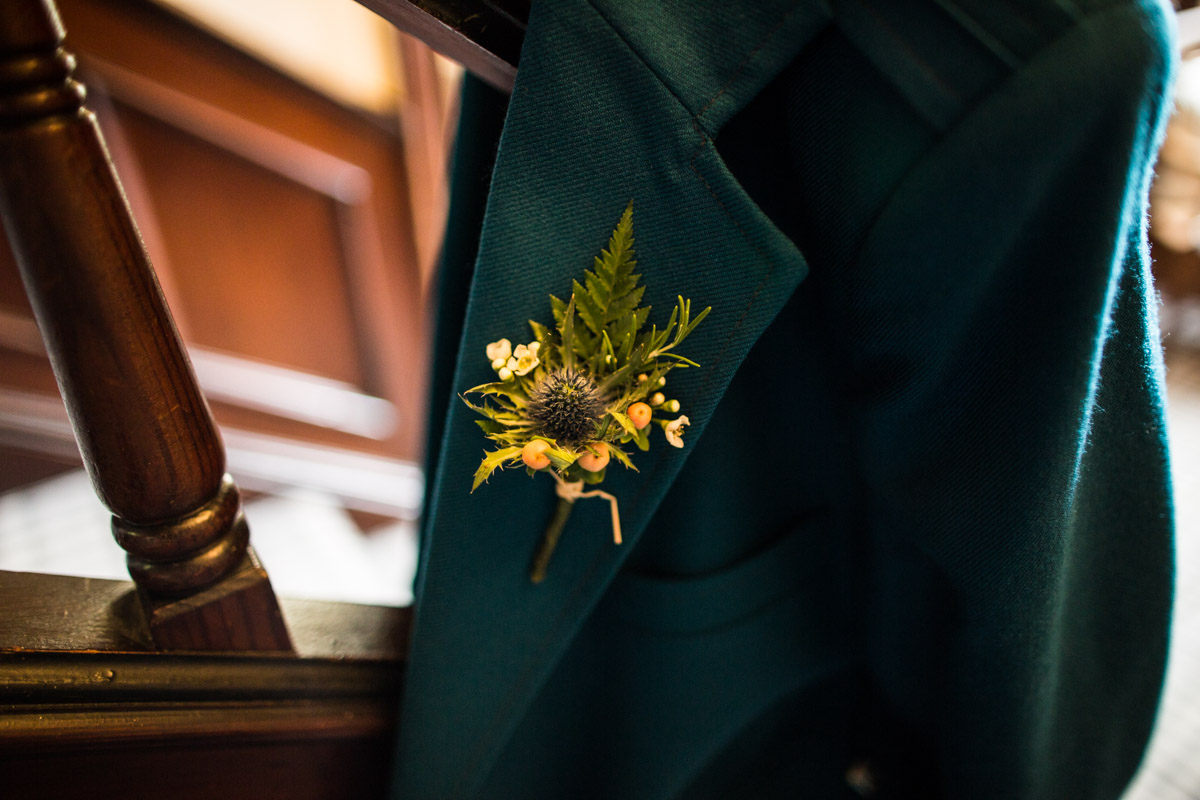 Scottish button hole by The Woodland Florist in Kirn. Dunoon wedding photographer.