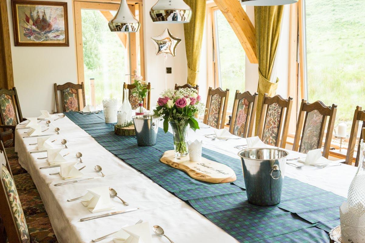 Carrick Castle Estate wedding breakfast. Luxury wedding photographer Scotland