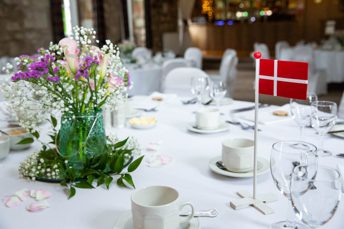 Danish wedding table decorations at Culcreuch Castle wedding venue