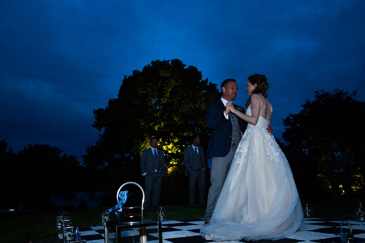 Outdoor first dance at MacDonald Forest Hills Hotel