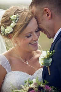 Bride and groom. Bride wears chloe michell pearl jewellery for her wedding jewellery