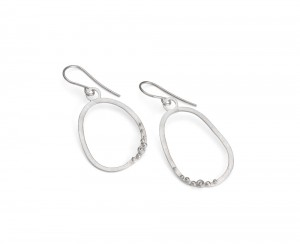 silver pebble earring with granulation detail and stone of choice. Price on request