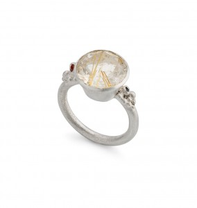 sterling silver cocktail ring with rutilated quartz, orange sapphire and black diamond £350