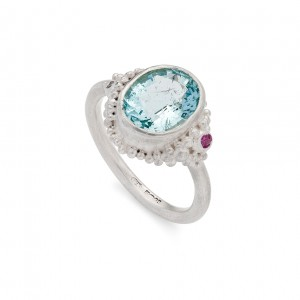sterling silver cocktail ring with aquamarine, pink sapphire and natural diamond £475