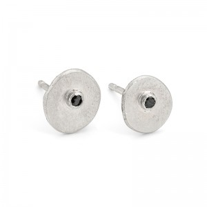 silver inclusion studs with black diamond £80
