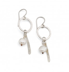 hammered hoop, pearl and silver stem earrings £55
