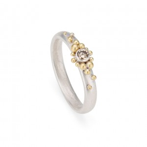 silver band with 18 gold and champagne diamond £415